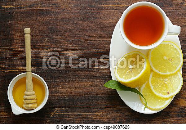 Zitrone, winter, tee, getränk, schwarz, honig, wärmen Stockfoto ...