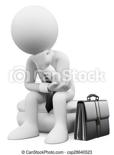 zittende , denken, mensen., zakenman, witte , 3d - csp28640523