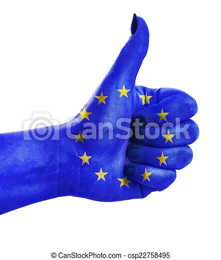 zjednoczenie, do góry, kciuk, europejczyk - csp22758495