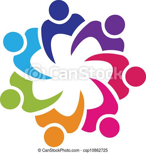 zjednoczenie, logo, wektor, teamwork, ludzie - csp10862725