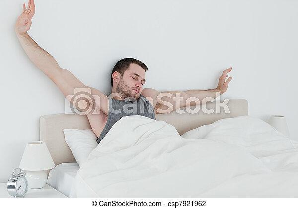 zmęczony, człowiek, jego, herb, rozciąganie - csp7921962
