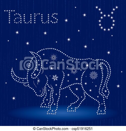 Tauro de signo zodiaco con copos de nieve - csp51916251