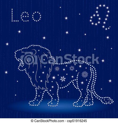 Zodiaco signo leo con copos de nieve - csp51916245