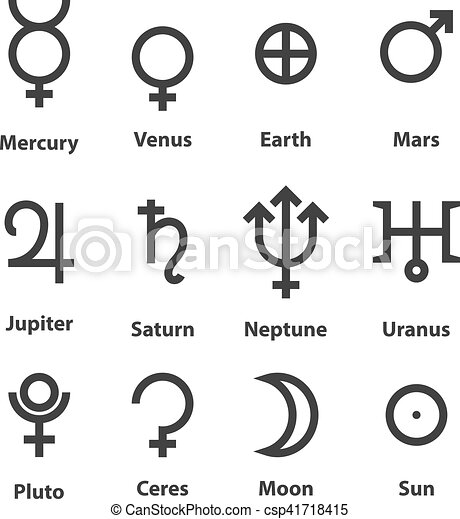 Zodiac And Astrology Symbols Of The Planets Vector Illustration