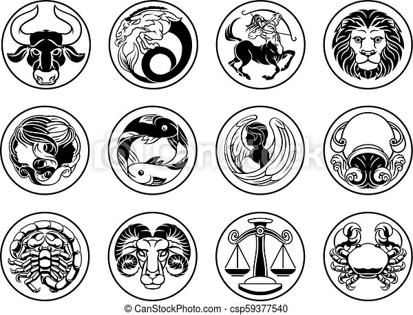Zodiac astrology horoscope star signs symbols set