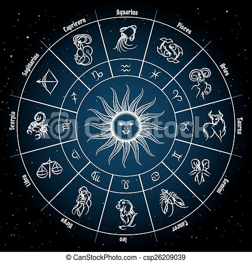Zodiac circle with horoscope signs fish pisces scorpio aquarius zodiac circle with horoscope signs csp26209039 reheart Gallery