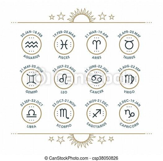 Zodiac Icon Collection Sacred Symbols Set Vintage Style Design