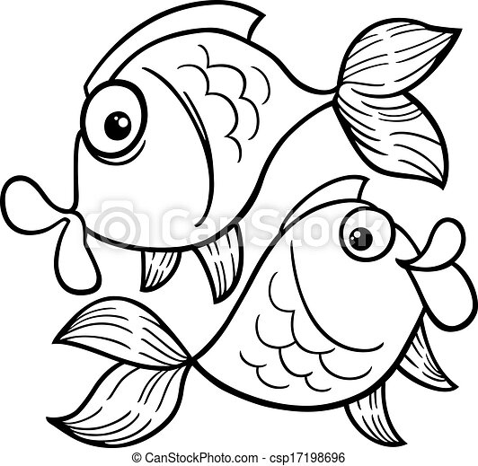 Black And White Cartoon Illustration Of Zodiac Pisces Or Fish For Coloring Book