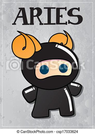 zodiac sign aries with cute ninja character, vector vector
