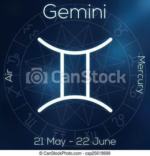 Zodiac Sign Gemini White Line Astrological Symbol With Caption