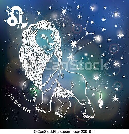 zodiac sign leo. horoscope.blurred space. leo zodiac vector clip
