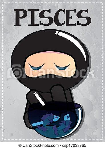 zodiac sign pisces with cute ninja character, vector clip art vector