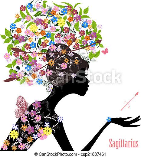 Zodiac sign sagittarius. fashion girl - csp21887461