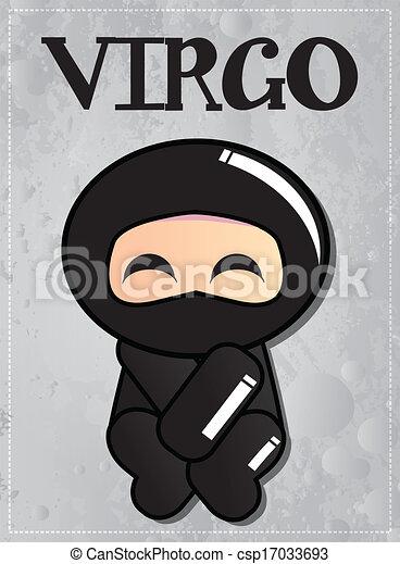 zodiac sign virgo with cute ninja character, vector eps vectors