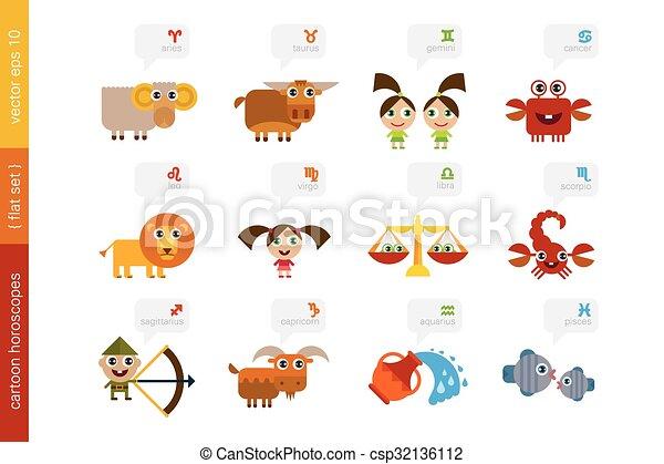 Zodiac Signs Astrological Symbols Vector Set Of 12 Horoscope
