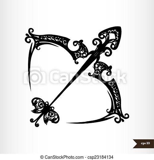 Zodiac signs black and white - Sagittarius - csp23184134