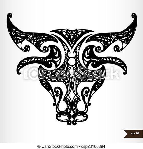 Zodiac signs black and white - Taurus - csp23186394