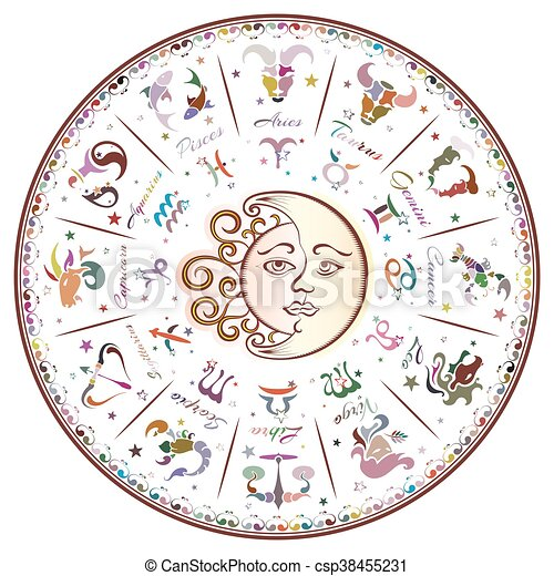 Zodiac signs, horoscope - csp38455231