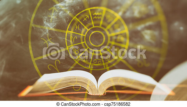Zodiac Signs Set Over An Open Book Abstract Background Astrology And Horoscopes Concept Open Book And Astrological Zodiac