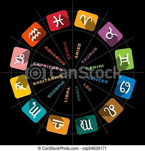 Zodiac Symbols in Circle on Black Background - csp54639171