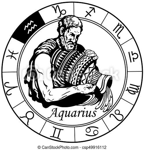 Disegno Acquario Segno Zodiacale.Zodiaco Acquario Nero Bianco Segno Oroscopo Wheel Acquario