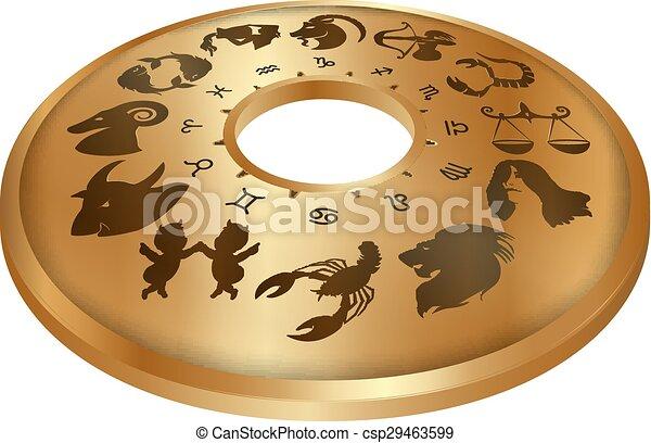 zodiaque, disque, or, signes - csp29463599