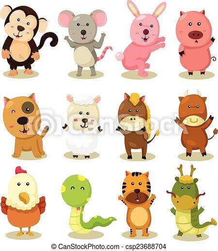 zodiaque, ensemble, illustrateur, animal - csp23688704