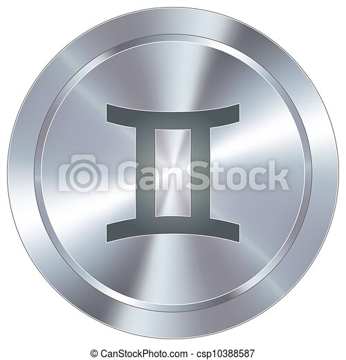 zodiaque, industriel, gémeaux, bouton - csp10388587