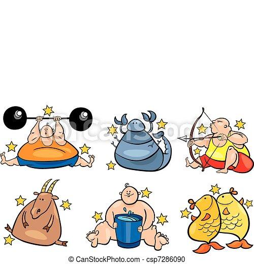 zodiaque, six, excès poids, signes - csp7286090
