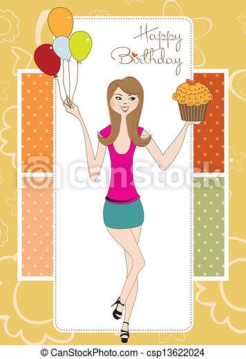 Zoet Jonge Verjaardag Girl Zestien Kaart