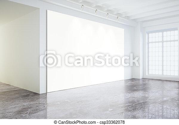 Grote Foto Aan De Muur.Zolder Grote Muur Vensters Op Poster Lege Leeg Witte Spotten Kamer