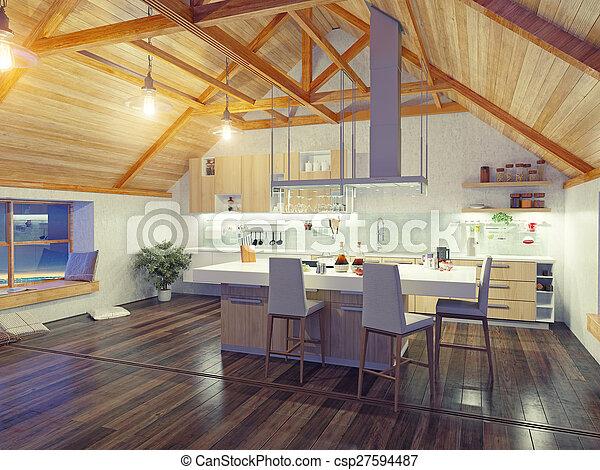 Zoldertjes interieur moderne keuken d zoldertjes eiland