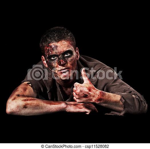 zombi, actuación, arriba, pulgares - csp11528082