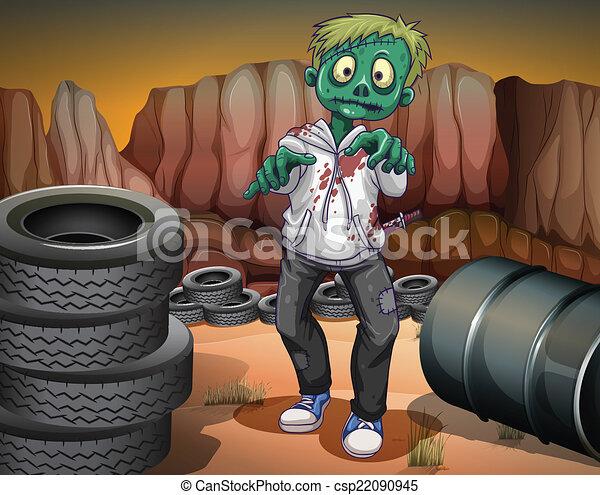 Un zombi aterrador en el desierto - csp22090945