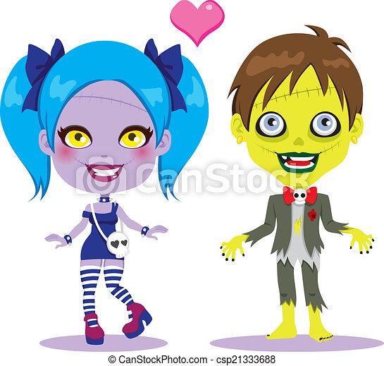 zombi, couple, amour - csp21333688
