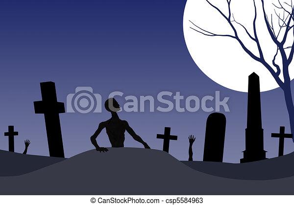 Zombi Halloween Cimetière Carte