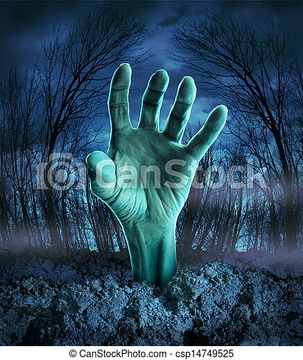 zombi, levée, main - csp14749525