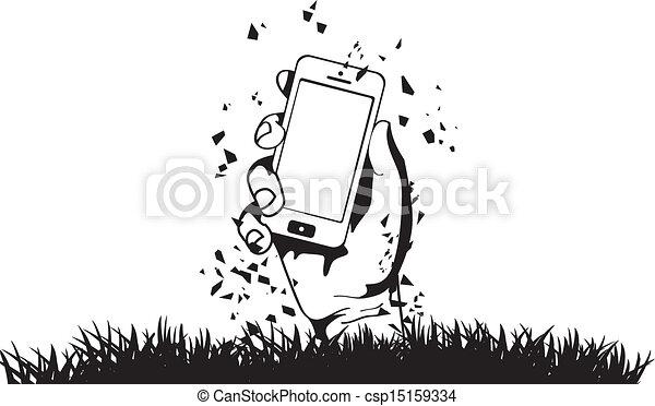 zombi, téléphone, vecteur, tenant main - csp15159334