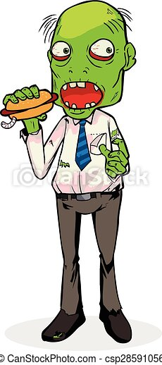 cartoon illustration of a zombie eating a hotdog clipart vector rh canstockphoto com free zombie clip art humorous free halloween zombie clipart