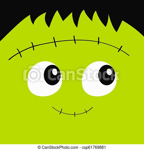 Zombie Frankenstein monster square face icon. Cute cartoon funny spooky baby character. Happy Halloween. Green head. Greeting card. Flat design. White background. - csp61769881