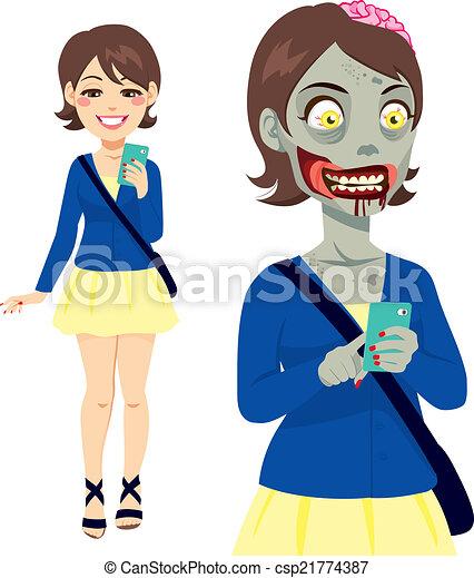 Zombie Girl Smartphone - csp21774387