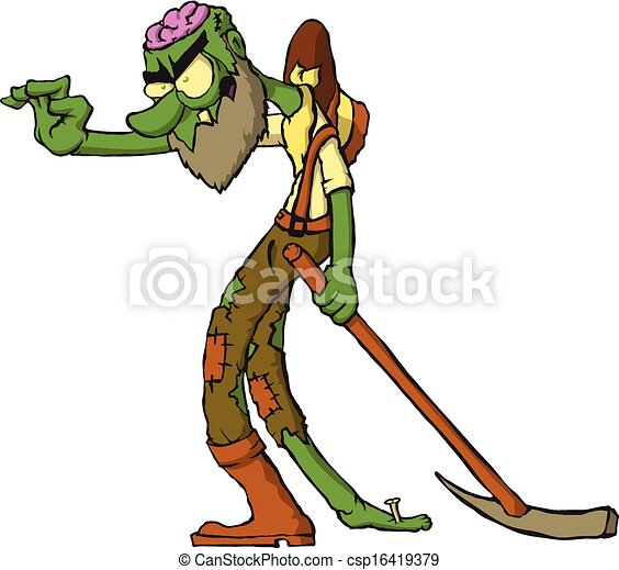 zombie gold miner character cartoon zombie character vectors rh canstockphoto com free clipart of zombies