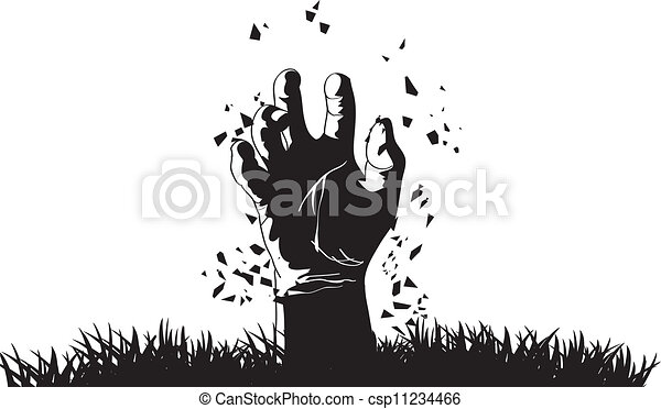 Zombie hand coming out from grave - csp11234466
