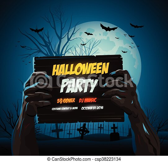 Halloween Poster Art.Zombie Hands Holding A Halloween Poster Ad