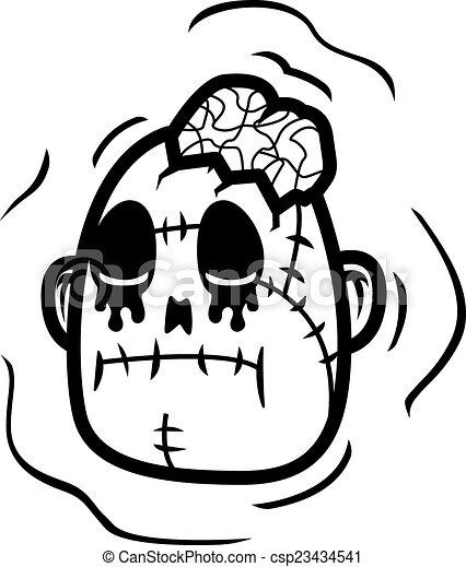 Zombie Head A Cartoon Undead Zombie Head Illustration