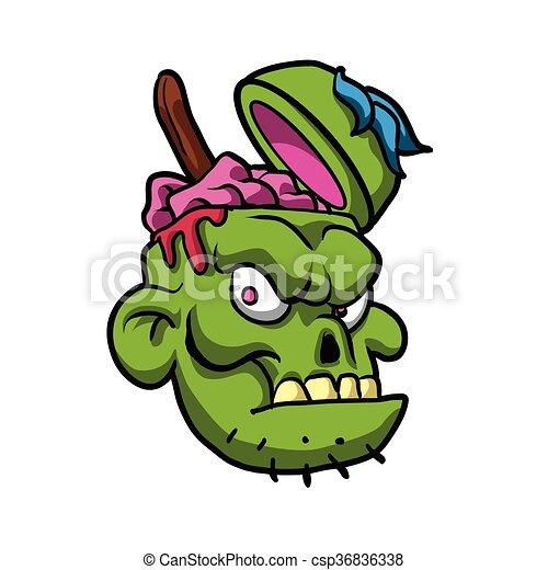 Zombie Head Illustration. - csp36836338