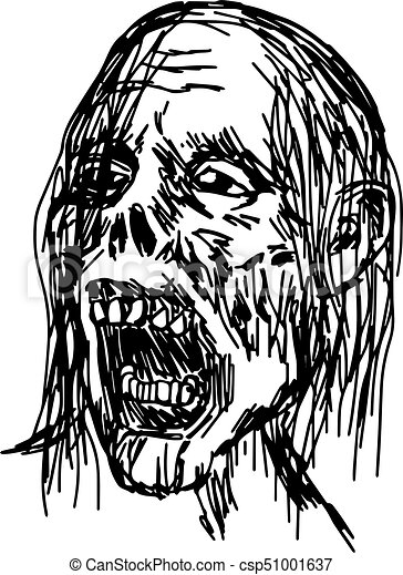 zombie head vector illustration sketch hand drawn with black lines, isolated on white background - csp51001637