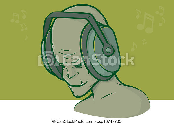 Zombie Face Line Drawing : Zombie headphones. illustration of a mean looking character