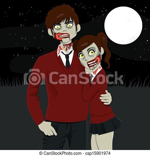 Zombie High School Couple - csp15901974