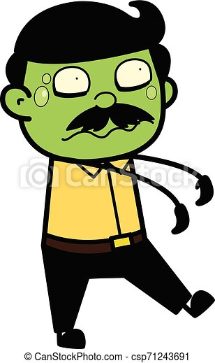 Zombie - Indian Cartoon Man Father Vector Illustration - csp71243691